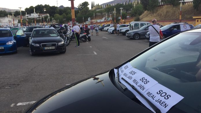 Recinto Ferial minutos antes de iniciarse la caravana protesta