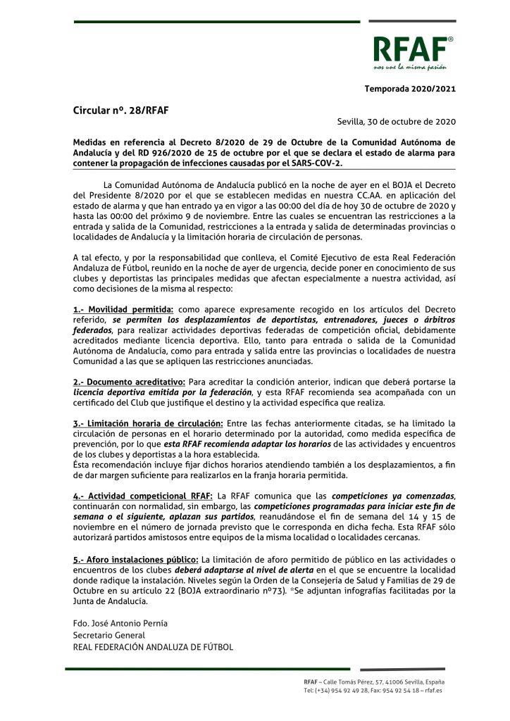 Nota de prensa de la Federación Andaluza