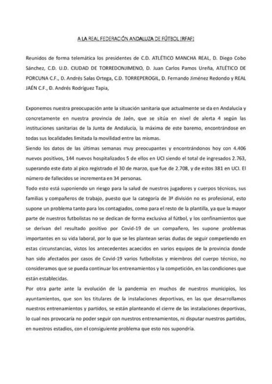 Los clubes de Tercera piden la suspensión