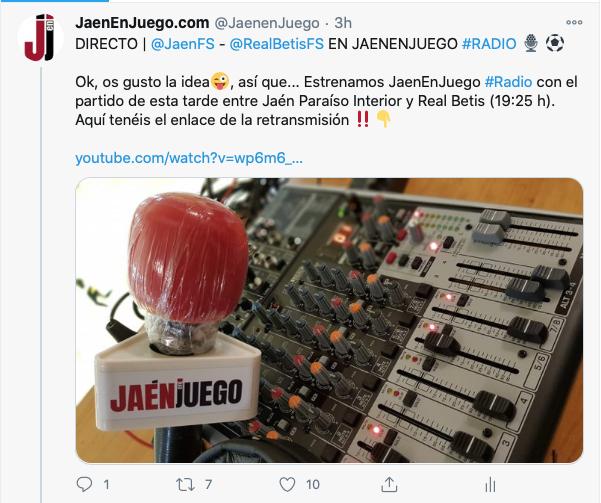 JaenEnJuego anunciaba hoy la confirmación de la retransmisión del partido a través de JaenEnJuego Radio a través de su cuenta de Twitter.